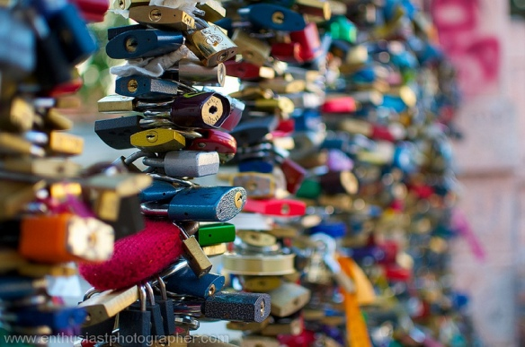 "Prague is famous for the Love Locks that decorate fences along the waterway inside the city.  It is a growing trend around the world.  This shot was the feature of my ""Touristy Photos"" post.  If you're looking for cities filled with amazing things to photograph, this area of Europe is your ticket."