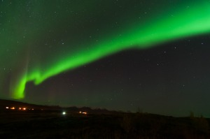 We were very lucky to catch the Northern Lights.  Tripod and very long shutter speed required!